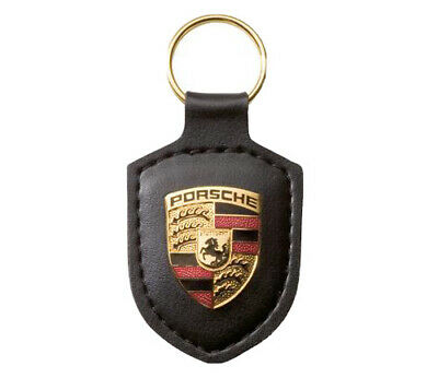 NEW IN BOX GENUINE OEM PORSCHE CREST Keyring Key Chain KeyFob Jet Black Leather