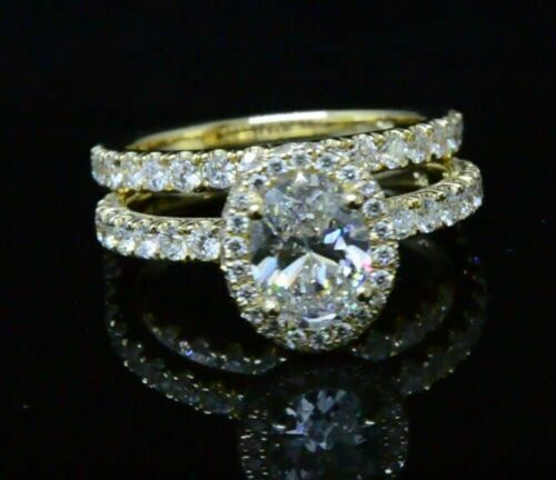 1.90 Ct Oval Brilliant Cut Pave Diamond Halo Engagement Ring G,VS2 GIA Certified 1