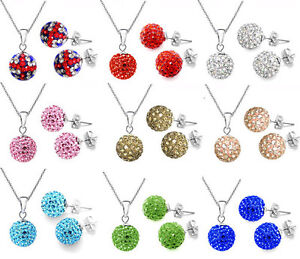 Wholesale-Jewelry-Crystal-10mm-Disco-Balls-Silver-Necklace-Earrings-sets-box925
