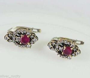 Sterling Silver Ruby Earrings