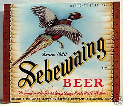 Sebewaing Beer Bottle Pheasant Label Sebewaing Mich