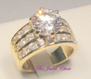 4.00 Ct Round Diamond Solitaire Engagement Ring Yellow Gold Wide Channel  Band