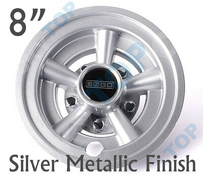 "EZGO OEM Golf Cart 8"" Silver Metallic Wheel Covers Hub Caps Set of 4"