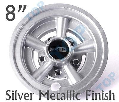 "E-Z-GO OEM Golf Cart 8"" Silver Metallic Wheel Covers Hub Caps - (Set of 4)"