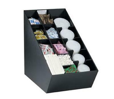 Dispense-rite Countertop Lid Straw Condiment And Napkin Organizer Black