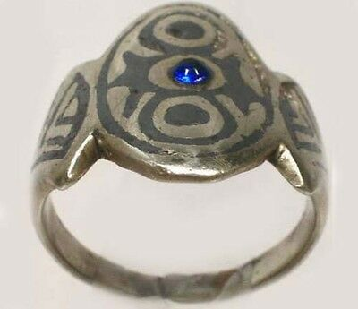Antique 19thC Russia Ukraine Crimean Tartar Silver Etched Enamel Niello Ring Sz8