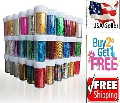 60 Colors Nail Art Stickers Tips Wraps Transfer Foil A  Us Seller   Buy2get1free