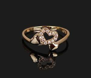 Lovers 18K Gold Plated Multi Rhinestone Ring Size #7