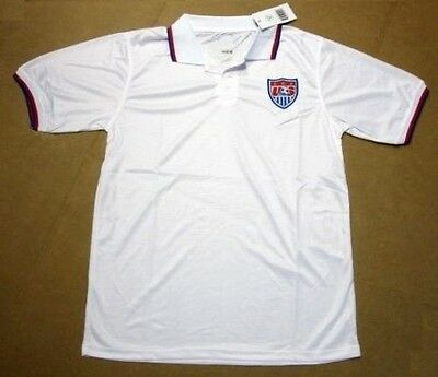 United States Of America Us Soccer Jersey White Usa Polo Shirt Mens M Medium