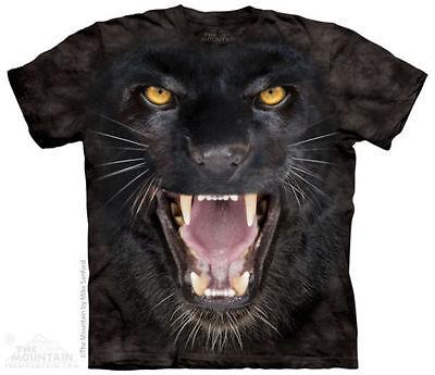 Black Panther Big Cat - The Mountain ROARING AGGRESSIVE BLACK PANTHER FACE BIG CAT T Shirt Tee S-4XL 5XL