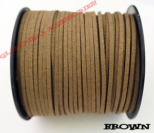 13 COLORS 3mm x 1.5mm Faux Suede Cord Leather Lace Jewelry Making Beading Thread