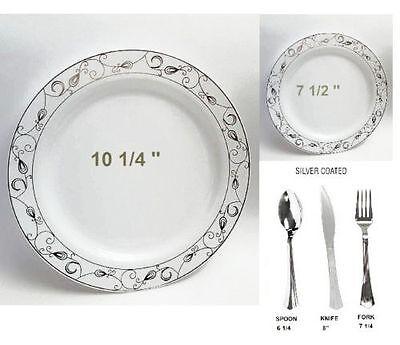 Bulk Dinner Wedding Disposable Plastic Plates Silverware Party Silver Rim - Bulk Disposable Plates