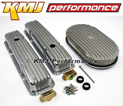 58-86 SBC Chevy 350 Finned Retro Aluminum Valve Covers Air Cleaner Dress Up - Dress Up Retro