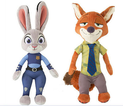 "2PCS ZOOTOPIA OFFICER JUDY HOPPS Nick Wilde SMALL PLUSH 12"" NEW MOVIE PLUSH TOY"