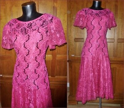 80s Dresses | Casual to Party Dresses Vtg 80s HOT Pink Illusion Lace Sequin Evening Gatsby Wedding Party Evening DRESS $67.15 AT vintagedancer.com