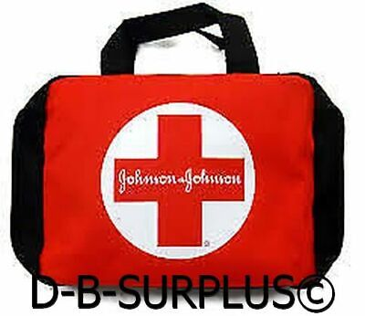 FIRST AID KIT POUCH BAG EMPTY W/ ZIPPER BLACK RED JOHNSON & JOHNSON -