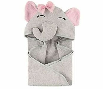 Hudson Baby Unisex Baby Animal Face Hooded Towel, Blue Eleph