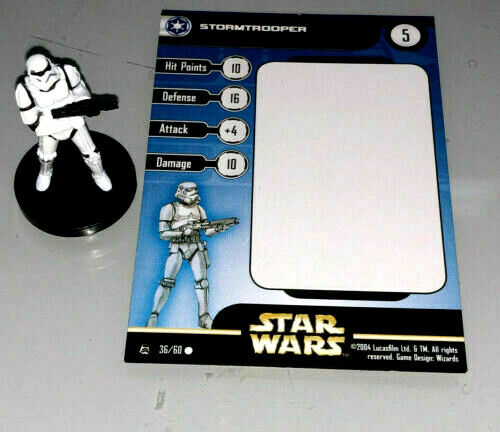 Star Wars Mini - STORMTROOPER  #36 (Rebel Storm Series - HTF FIGURE with CARD!!)