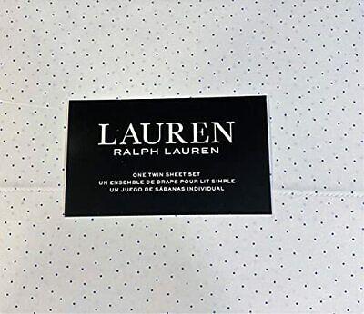 Ralph Lauren Twin Size  Mini Dot Sheet Set Cotton White and Blue