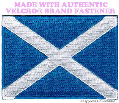 SCOTLAND FLAG PATCH SCOTTISH EMBROIDERED new SALTIRE w/ VELC