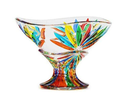 Murano Glass Starburst Compote Bowl, Made in Italy