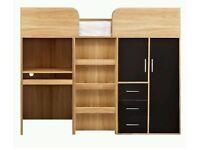 Kidspace Ohio Mid Sleeper Bed, Desk, Drawers & Wardrobe - Oak/Black H150,W95.2,D194cm