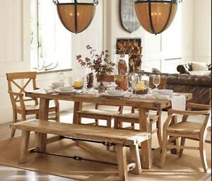 Dining table/2 leaves/2 benches (reclaimed wood). POTTERY BARN