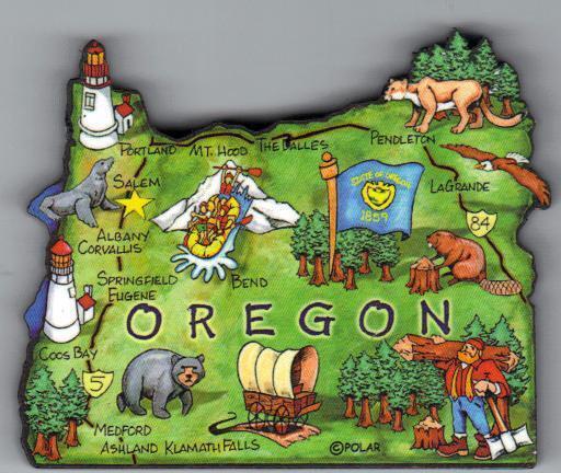 OREGON  ARTWOOD STATE MAP MAGNET  SALEM  MEDFORD  EUGENE  PORTLAND   MT HOOD