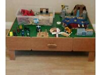 Wooden train table with storage drawers and all accessories