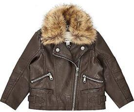 Girls leather river island jacket