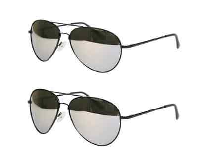2 Pack- Black Frame Mirror Lens Aviator Sunglasses Classic Pilot Style UV400