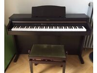Roland Electric Piano HP102e handsome dark wood includes green velvet piano stool