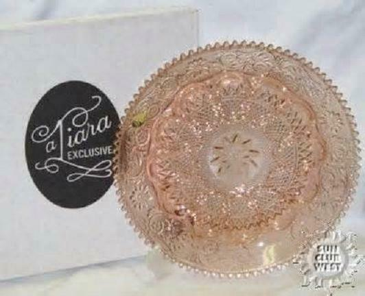 TIARA EXCLUSIVES PEACH PINK SANDWICH GLASS DEVILED EGG PLATE TRAY DISH