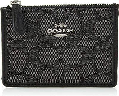 COACH New York Womens Signature Mini Skinny Card Case ID Holder Wallet Black