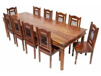 Rustic Dining Table and 9 Chair Set. Brand new costs around £2500. For sale for £800 ono