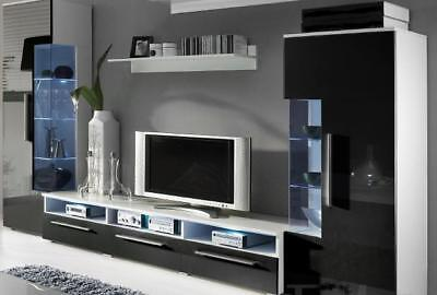 Diseñador Pared de Salón Rtv TV Aparador + 2 Vitrinas Montaje Armario...