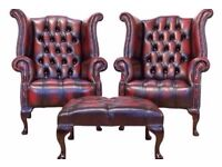 *WANTED* CHESTERFIELD SOFAS CLUB CHAIRS QUEEN ANNE LEATHER WING BACK FOOTSTOOL £££ will collect