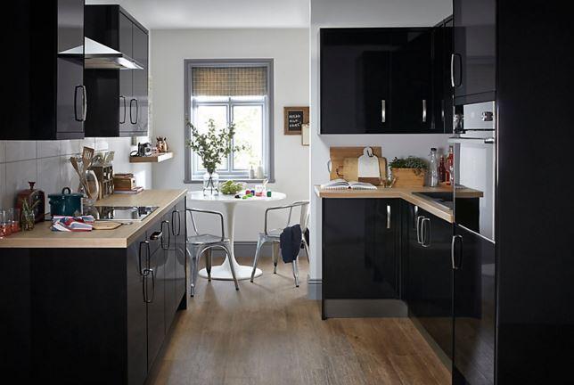 5 X B Q Santini Gloss Black Slab Kitchen Doors In Knightswood