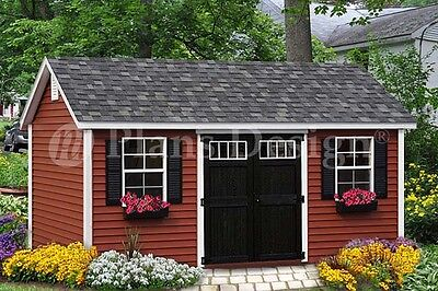 Shed Plans / Playhouse 10' x 16' Gable Roof Design # D1016G, Free Material -