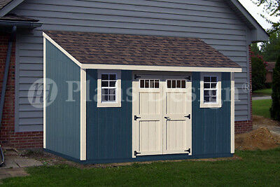 - 8' x 14' Backyard Deluxe Storage Shed Plans, Lean-To Roof  Style Design #D0814L