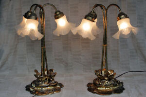 2 ornate brass, three arm tulip style table lamps, lily pad base