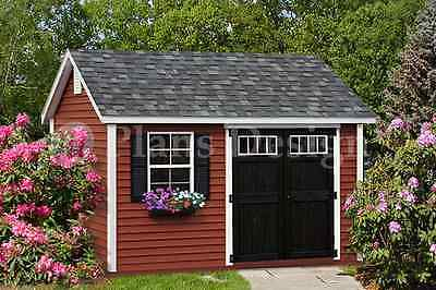 Deluxe Shed Plans 10' x 12'  Reverse Gable Roof Style Design # -