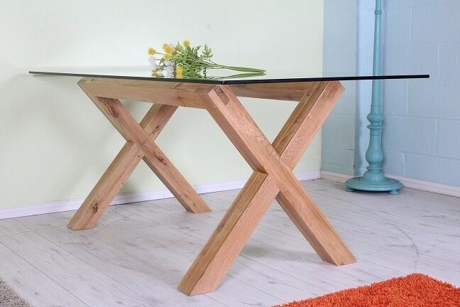 BEAUTIFUL 6 FT SOLID OAK CARGO TABLE WITH THICK GLASS TABLE TOP - CAN COURIER
