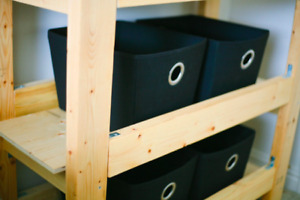 Handcrafted shelves/drawers for sale + FREE storage baskets!