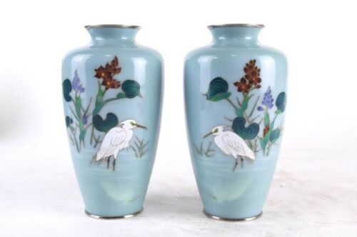 PAIR OF JAPANESE BLUE CLOISONNE VASES