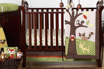 Animal Woodland Owl Green Brown Bumperless Baby Boy Crib Bedding Comforter Set for sale  USA