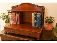 Antique Mahogany Desk Tidy/ Book Shelf with inlaid mother in pearl
