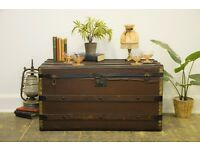 Antique Victorian Steamer Travel Trunk, Toy Box, Storage Chest, Blanket Box, Prop