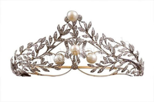 10.80cts ROSE CUT DIAMOND PEARL ANTIQUE VICTORIAN LOOK 925 SILVER TIARA