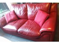 Leather Sofa - Red - need to sell ASAP